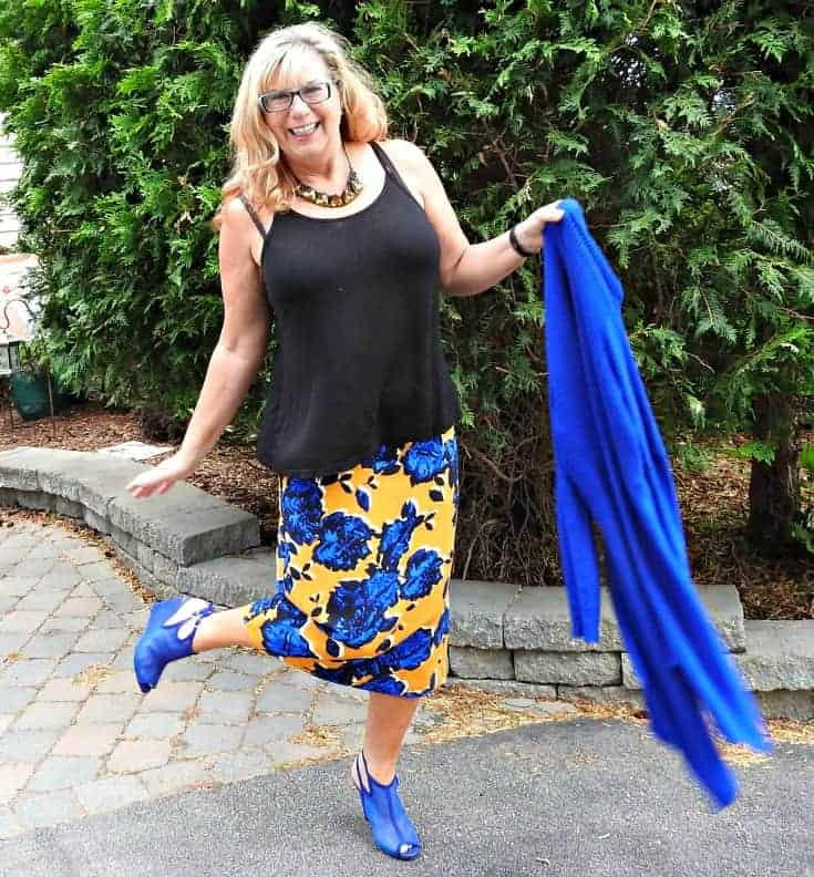 Target Floral Skirt, blue wedges from Shoe dazzle and a vibrant Blue cardigan from Giant Tiger