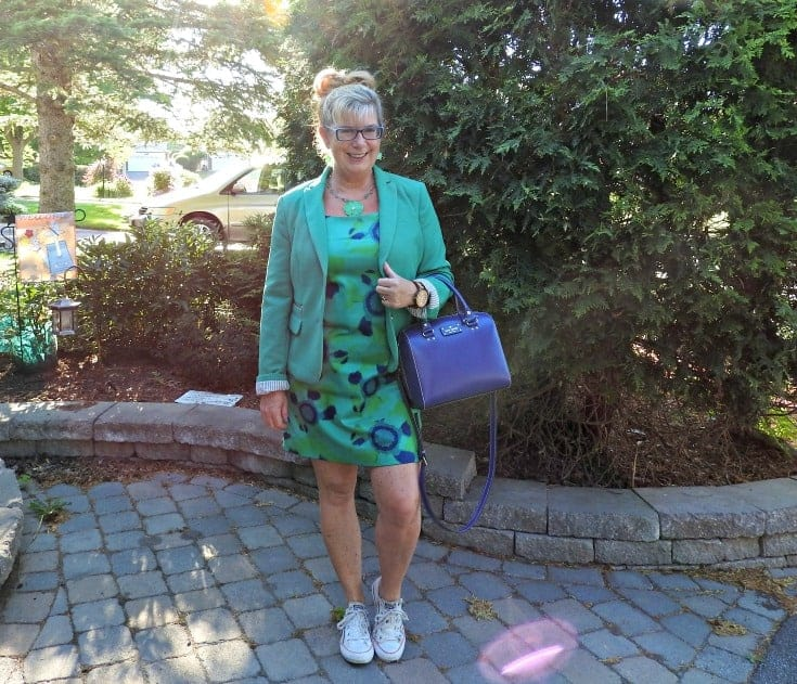 jade joe fresh floral dress and a rickis blazer with converse and a kate spade bag all paired with Jord