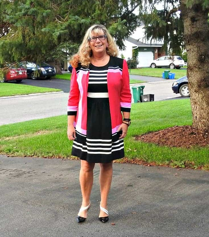 J Crew Dress, a Ming Wang blazer and cshoe dazzle pumps for the perfect go to work look