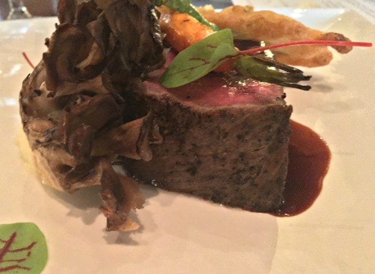 Cast Iron Roasted Sterling Silver Beef Striploin served with Horseradish Celeriac Puree and Maitake Mushrooms at St Germain's