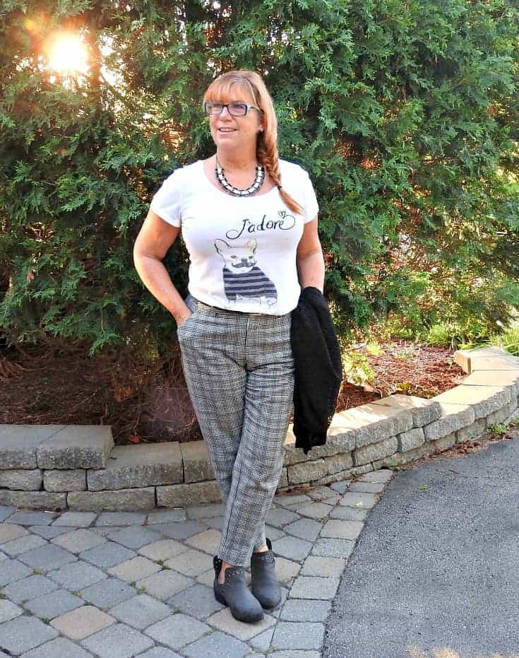 J'adore J Crew Tee, plaid pants and a black cardi.