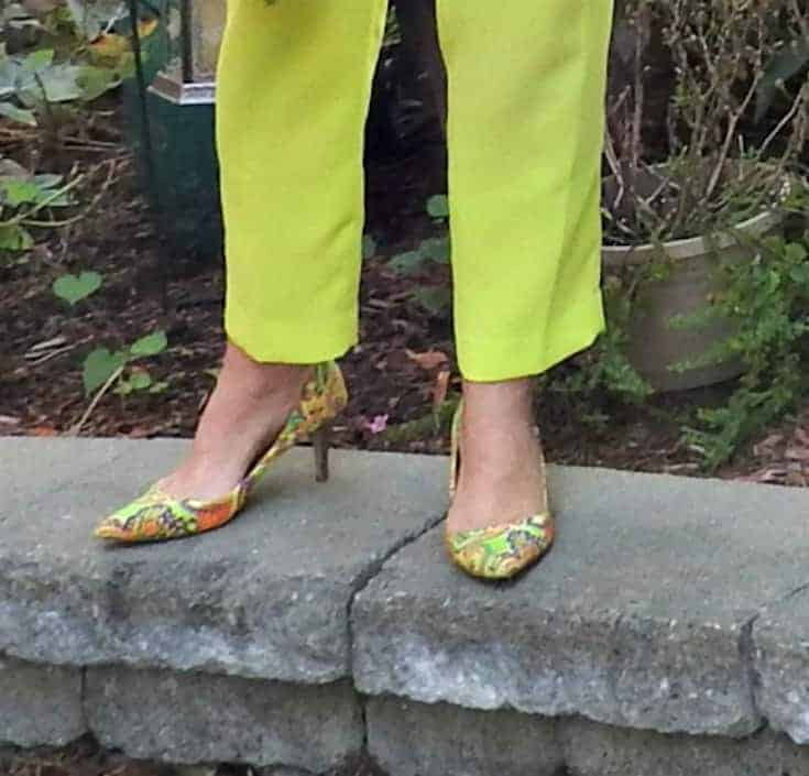 j crew neon pants and paisley pumps
