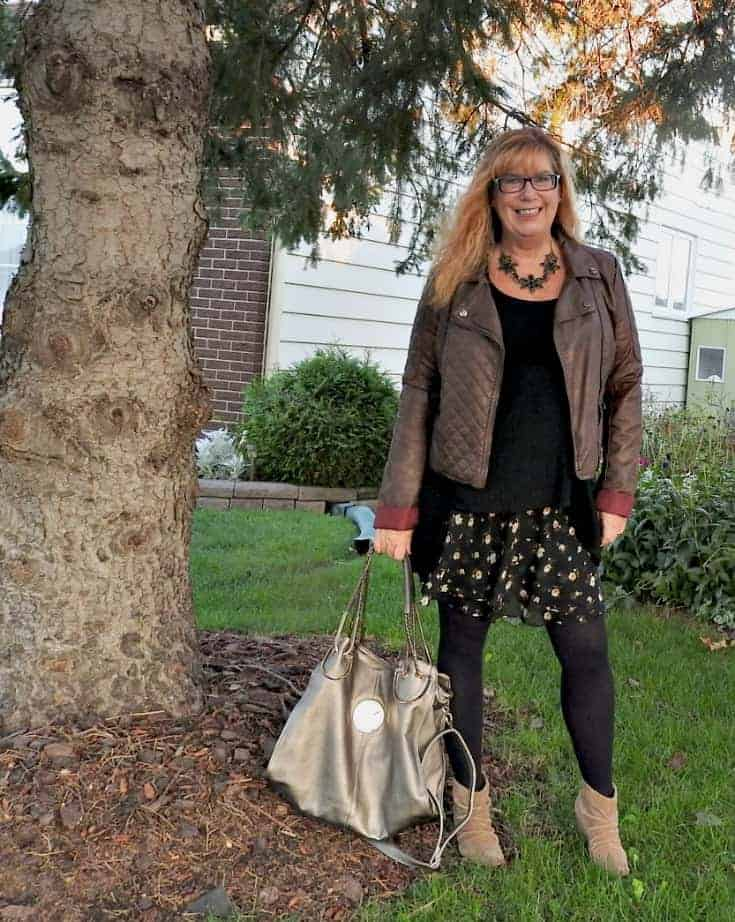 Old Navy Floral Skirt, Rodeo Boots and a floral necklace from Happiness Boutique with a Moto Jacket
