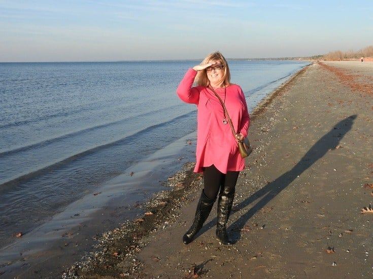 New Chic Fuschia Tunic and leggings with Shoe dazzle OTK boots at Wasaga Beach