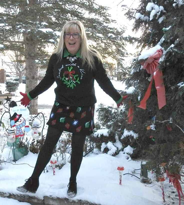 sealed with a kiss sweater and a Target Christmas skirt