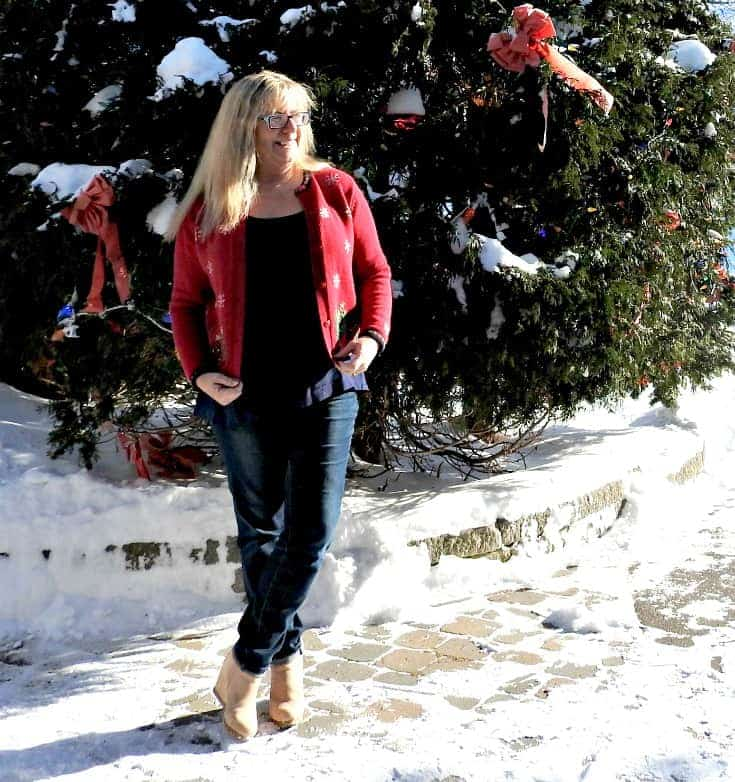 Christmas Sweater paired with my Haggar Dream Jeans, and my new shoe Dazzle wedges.