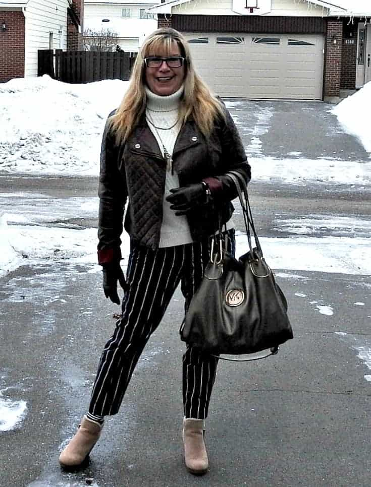 Harper pants with a banana republic cream sweater and rue 21 moto jacket. With shoe dazzle wedges