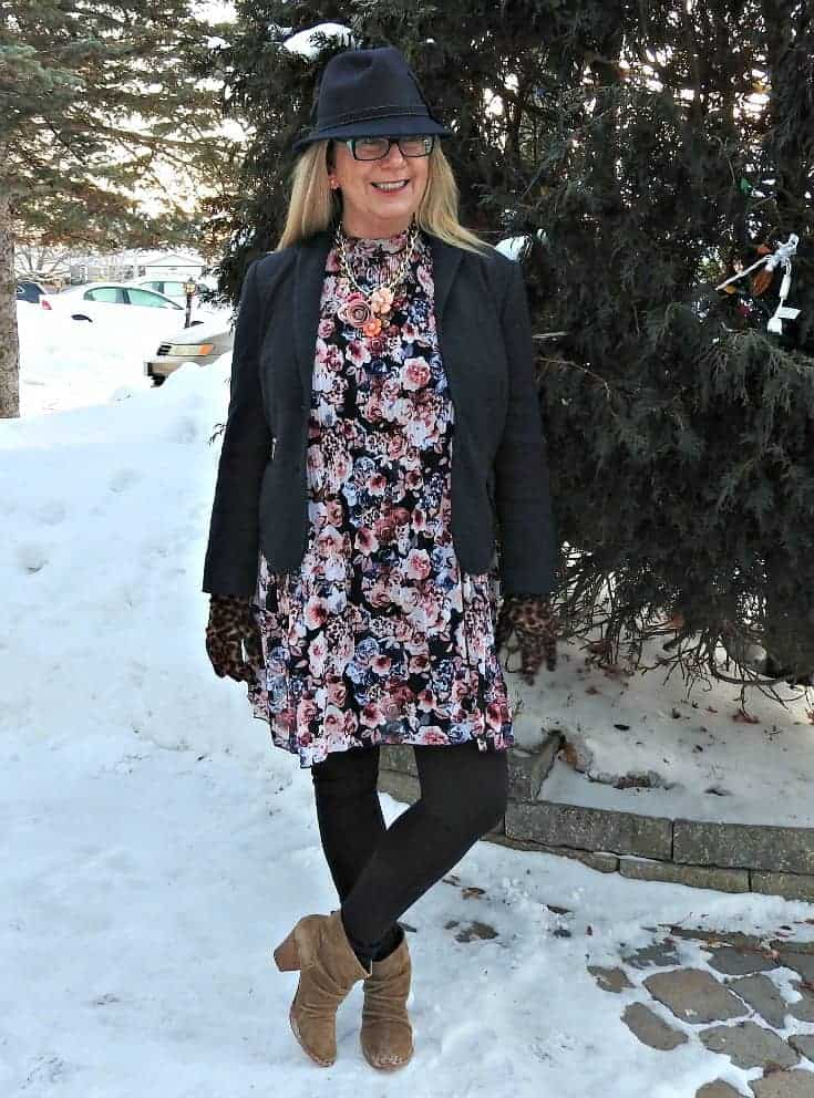 Target Floral dress, blazer and Rodeo boots with a Blue Fedora