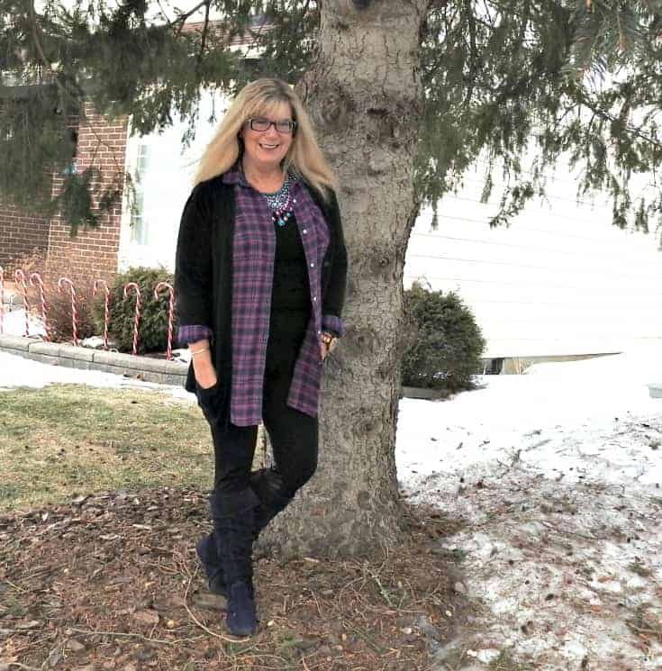 Under the tree in Svelte leggings, Old Navy flannel and cardigan for travel outfits plus Giant Tiger Boots and 7 Charming sisters bib necklace