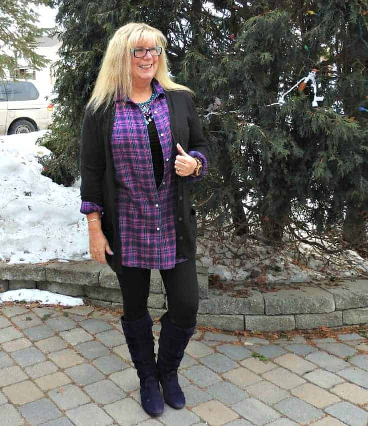 Svelte leggings, Old Navy flannel and cardigan for travel outfits plus Giant Tiger Boots