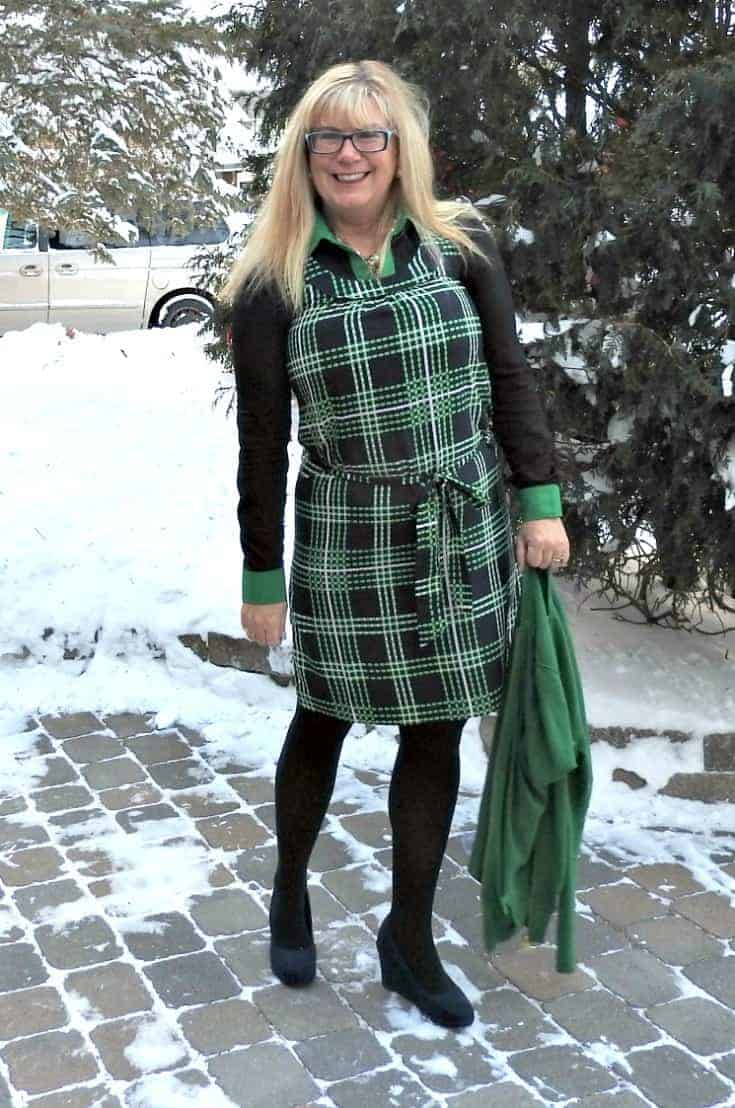 Banana Republic plaid dress in with a navy and green MK Blouse and navy wedges