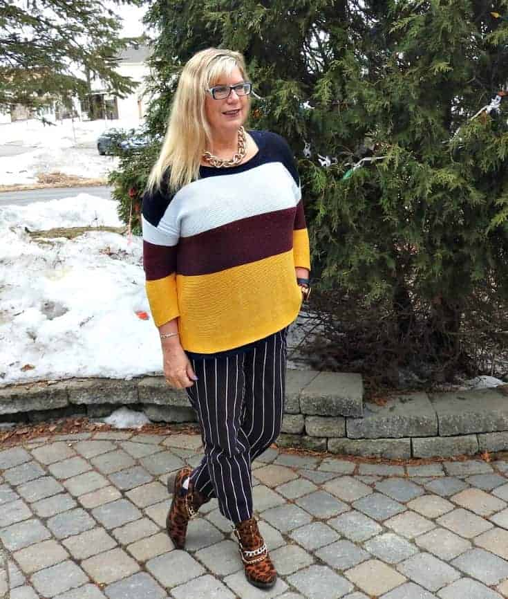 Old Navy Harper Striped pants and contrasting sweater and shoe dazzle leopard booties