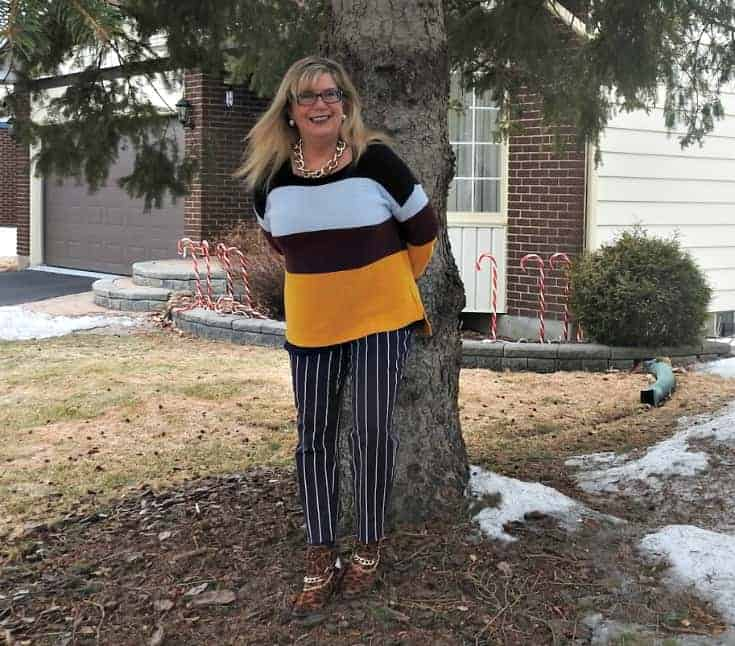 leaning against the tree in Old Navy Harper Striped pants and shoe dazzle leopard booties