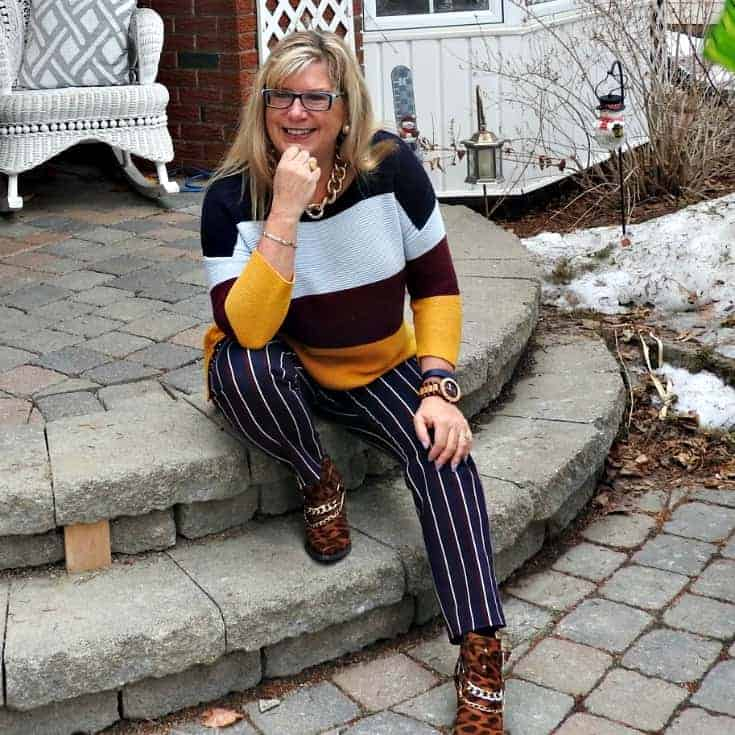 Old Navy Harper Striped pants and shoe dazzle leopard booties