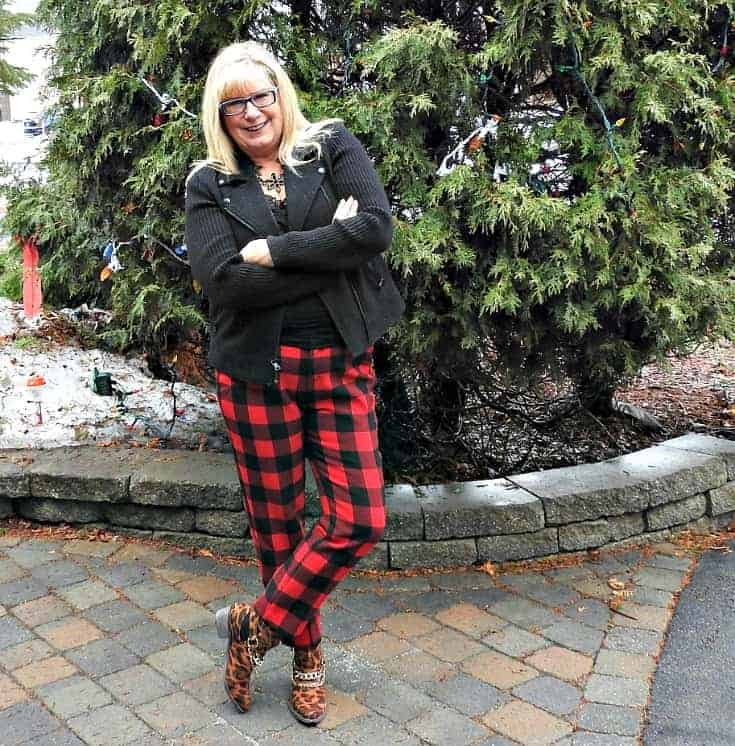Old Navy Buffalo Plaid in red and black Harpers with a moto jacket and leopard booties