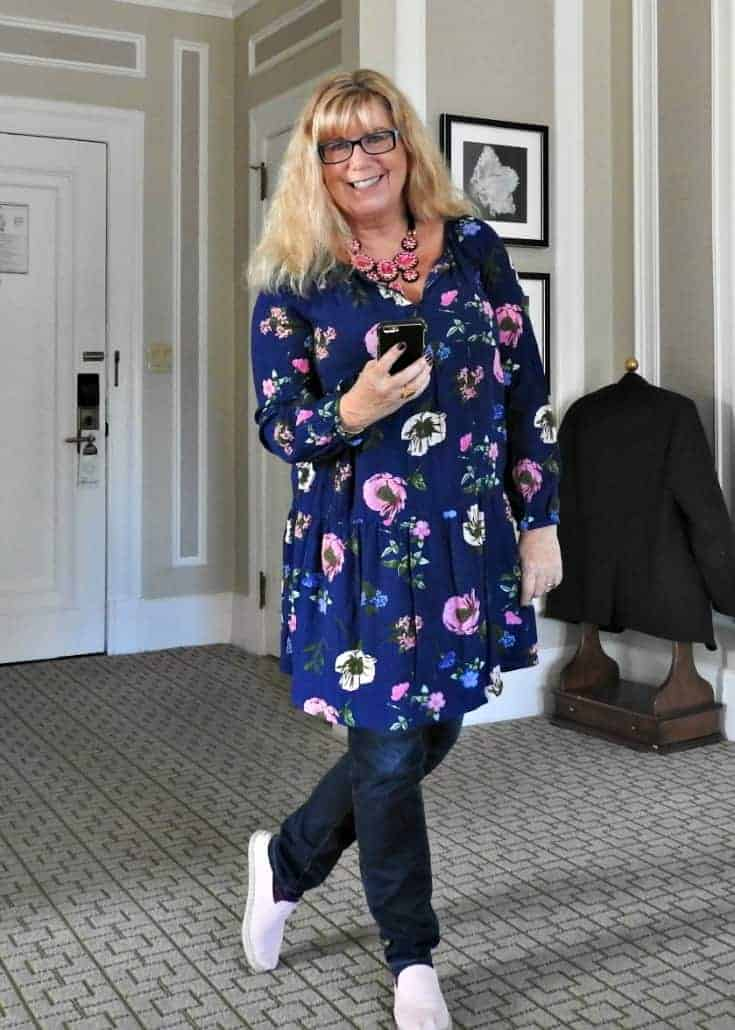 Old Navy Floral Dress and Haggar Dream Jeans with Tom's
