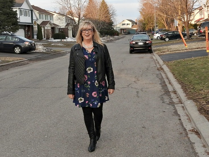 Old Navy Floral Frock with a leather moto and buckle boots and svelte shapewear