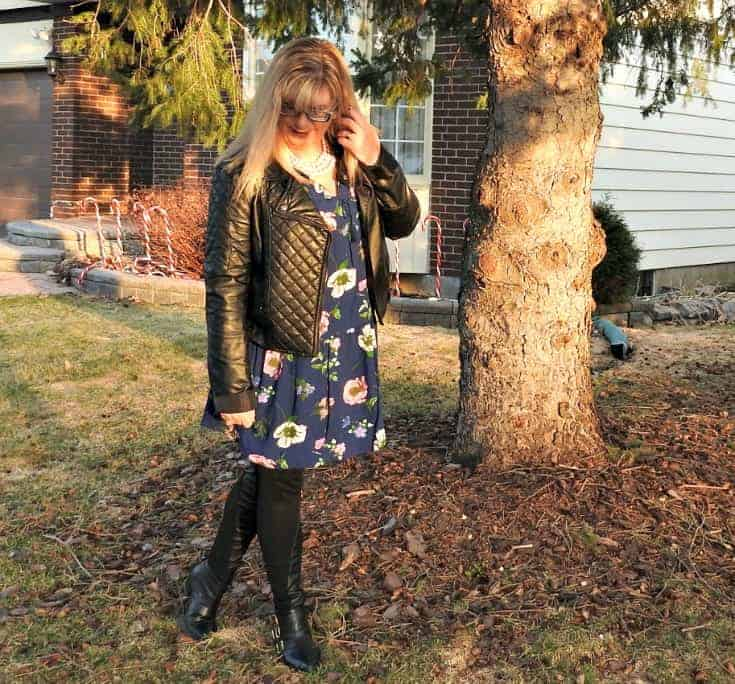Old Navy Floral Frock with a leather moto and buckle boots from F21