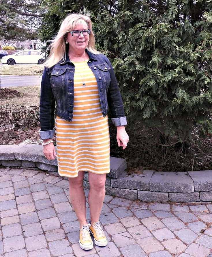 Old Navy Yellow Tee Dress with Stripes, Converse and a denim jacket and a 7 charming sister necklace