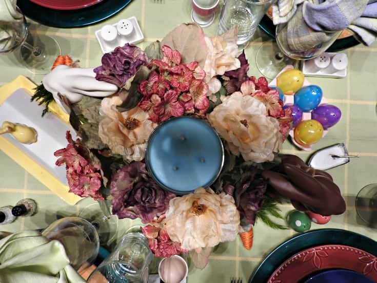 Floral and bunny centerpiece