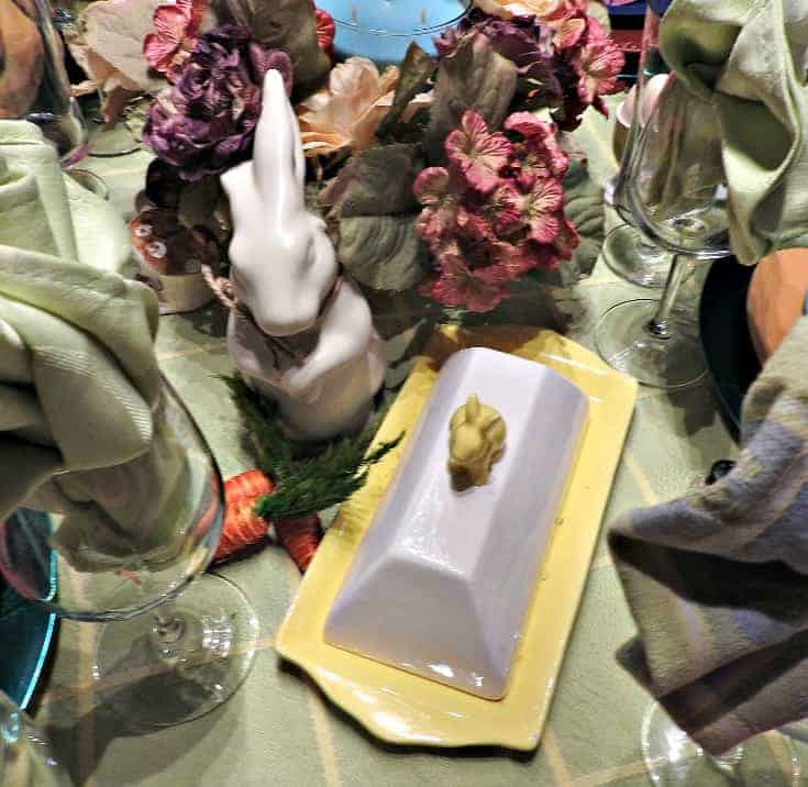 Pastel setting for an Easter Table, bunny butter dish