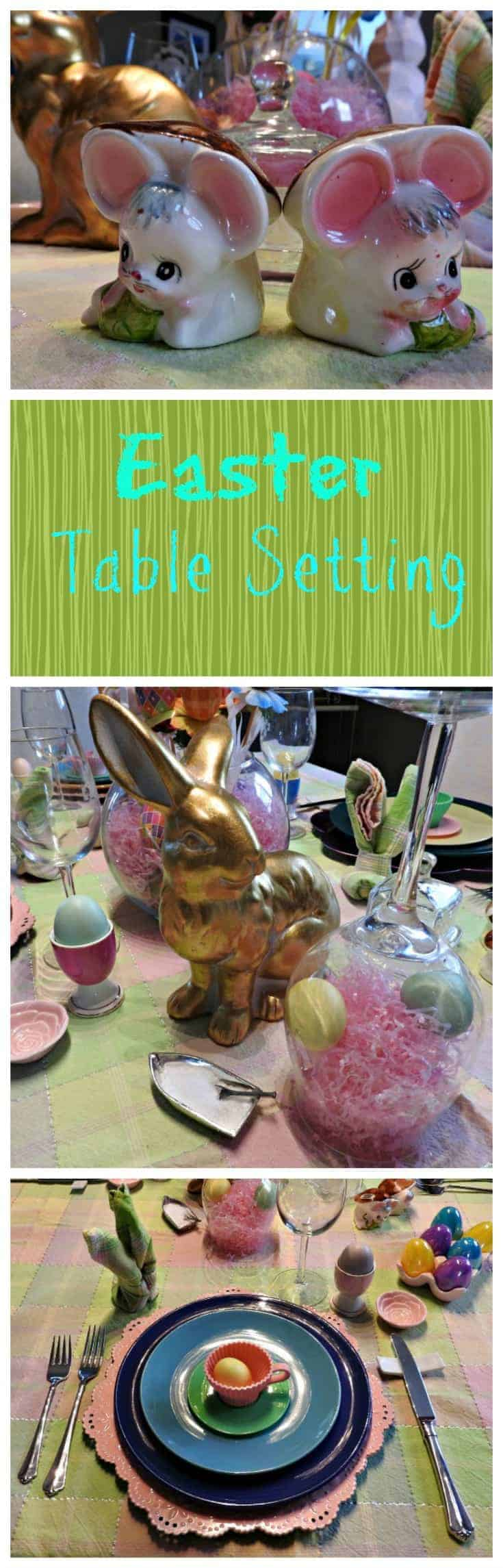 Easter Table Setting with pastels and bunnies