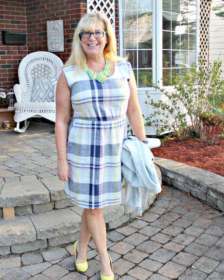 Old Navy Plaid Linen Dress, Forever 21 Blue Moto Jacket and Shoe Dazzle Signature Soles with a 7 Charming Sisters Necklace