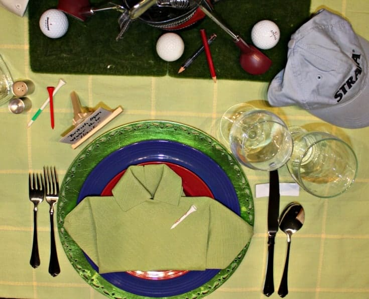 Fathers Day Golf Theme Table with a golf bag centrepiece with tees and balls