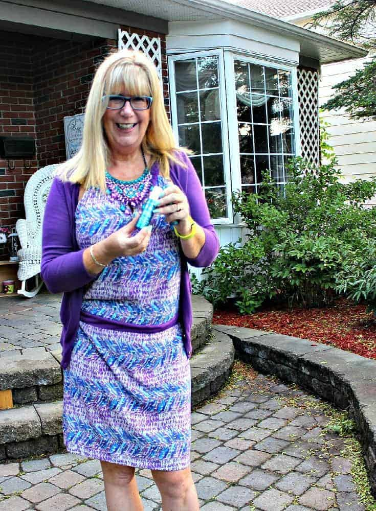 Purple and teal dress with matching cardi and a statement necklace from 7 Charming Sisters
