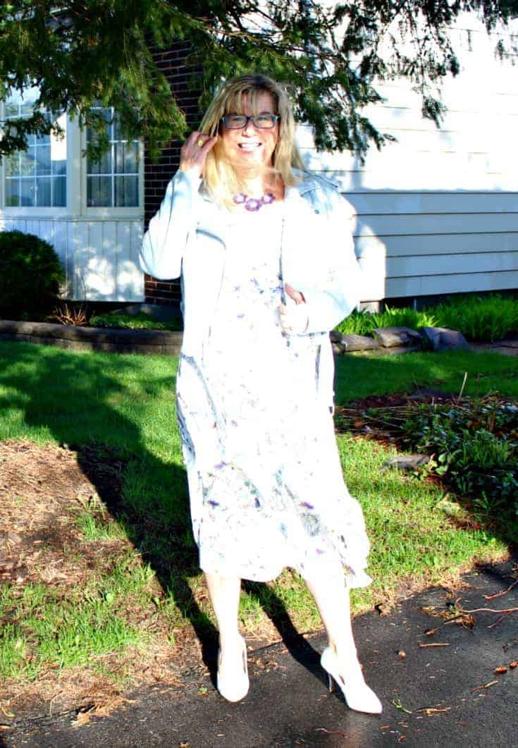 sun blind in h&M floral dress with striped shoe dazzle pumps and a moto jacket