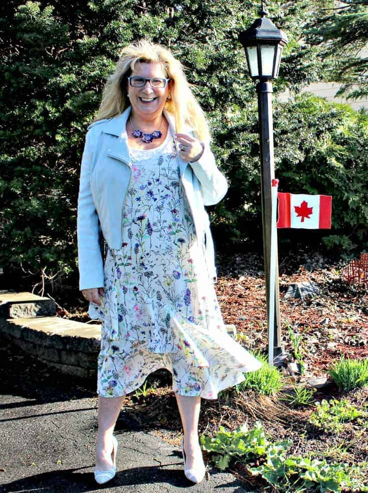 h&M floral dress with striped shoe dazzle pumps and a F21 moto jacket