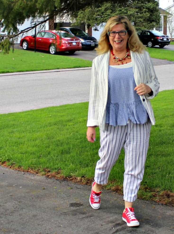 welcome the sun in Old Navy peplum gingham cami with linen stripped pants, blazer and red converse