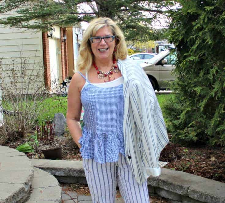Old Navy peplum gingham cami with linen stripped pants, blazer and anchor necklace