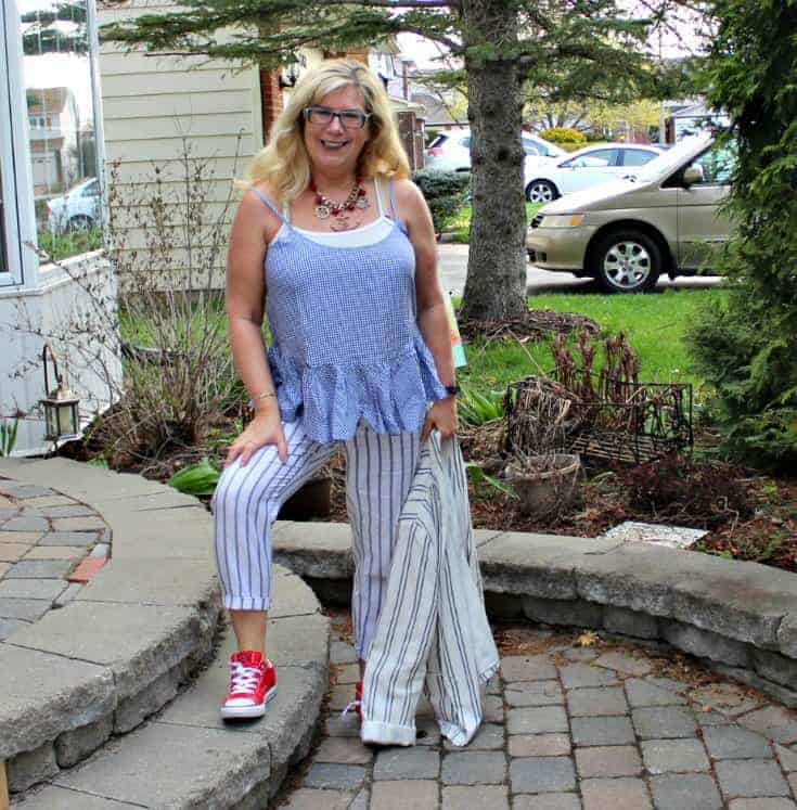 Old Navy peplum gingham cami with linen stripped pants, linen blazer and red converse