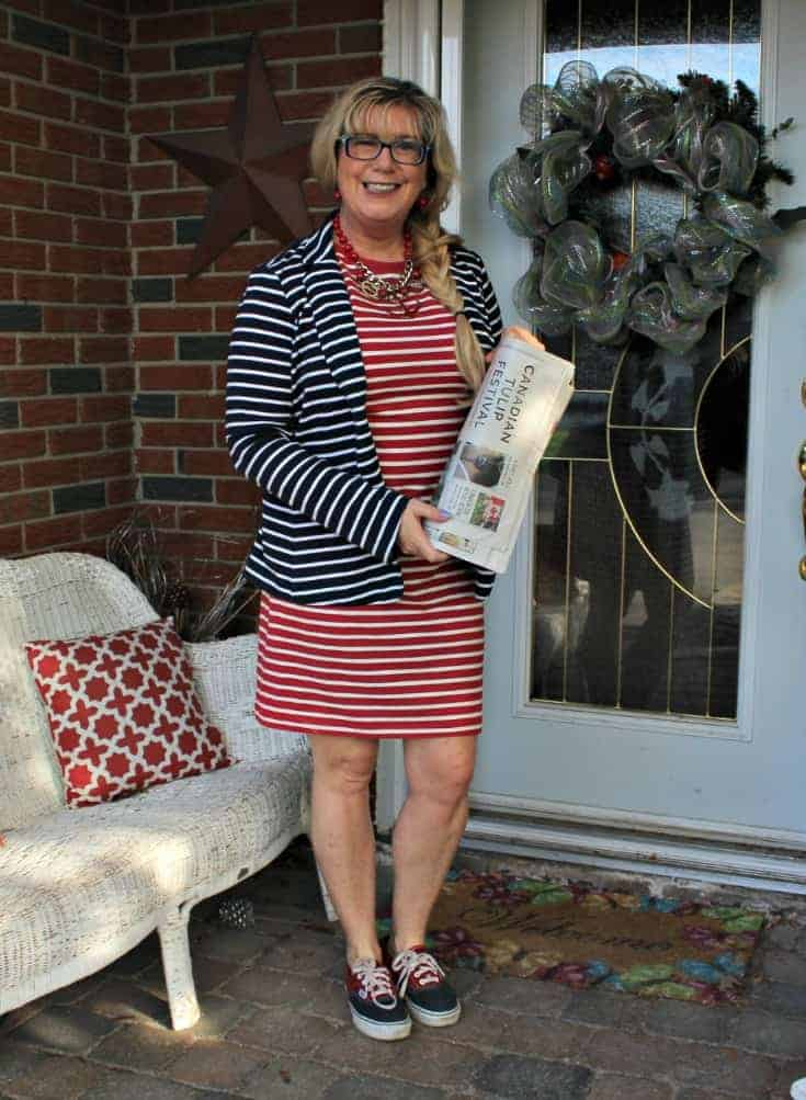 Old Navy red tee Stripe dress with a contrasting blazer and two tone vans