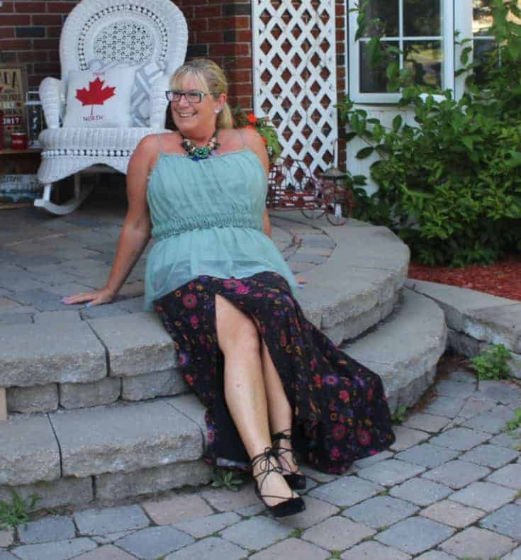 catching some rays in an Eshakti skirt with a sage green cami and tie up kitten heels from Shoe Dazzle