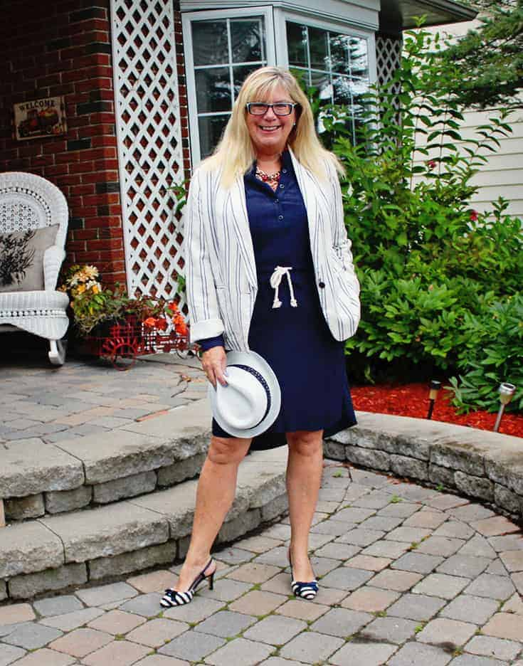 shirtdress from J Crew Factory Outlet, paired with the Old Navy Linen Blazer and slingbacks from Shoedazzle 2
