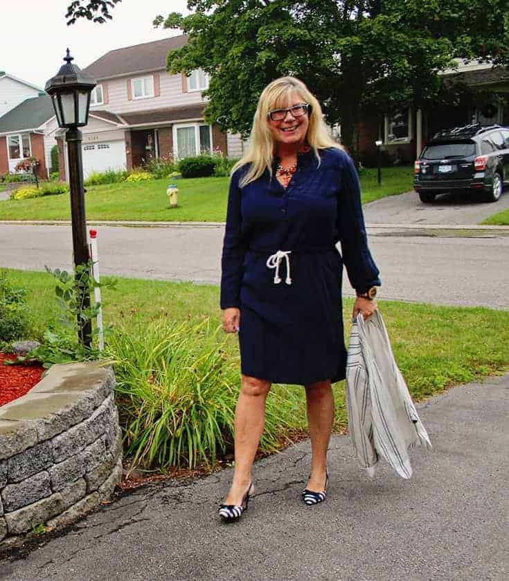 shirtdress from J Crew Factory Outlet, paired with the Old Navy Linen Blazer and slingbacks from Shoedazzle 5