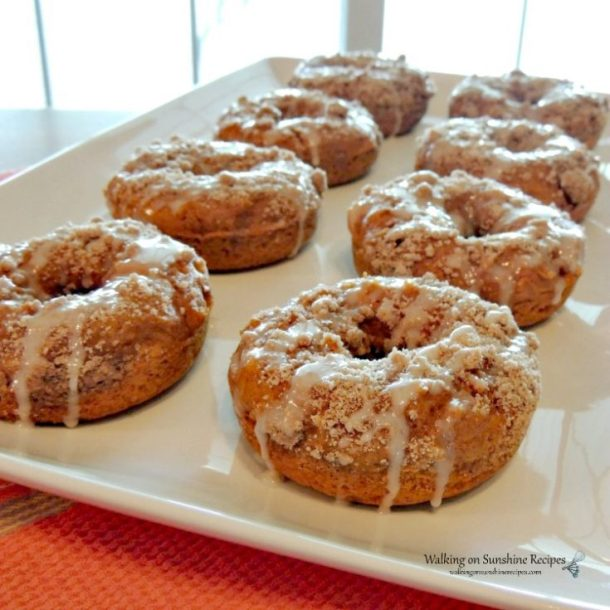 Pumpkin-Glazed-Crumb-Donuts-on-white-tray-with-LOGO
