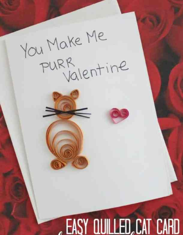cat quilled card