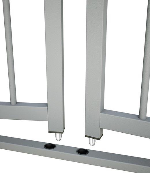 Dettaglio puntali di chiusura su telaio.