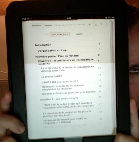 La table des matières vu par l'application iBooks