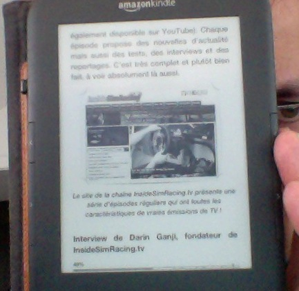 """Une page intérieure de """"Simracing"""" sur le Kindle de l'auteur"""