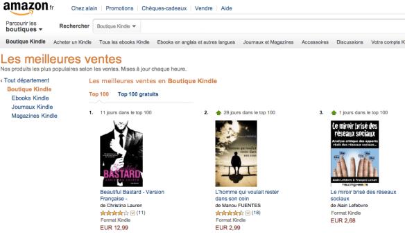 Notre livre, N°3 dans le top 100 de la boutique Kindle !