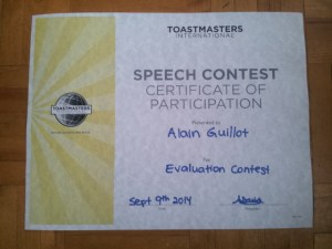 Evaluation contest certificate