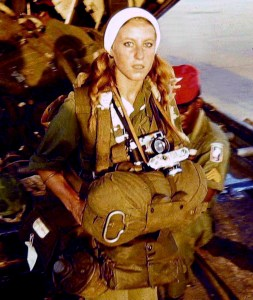 "Photographer Catherine Leroy about to jump with the 173rd Airborne during operation ""Junction City"", Vietnam, 1967 Photograph taken by a GI and sent recently to Catherine Leroy"