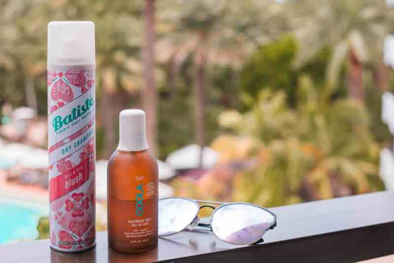 travel beauty products and dry shampoo