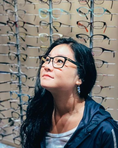 Photo of a woman wearing BluTech Lenses