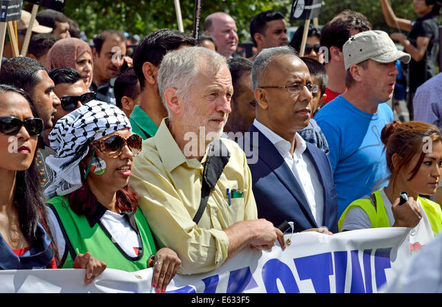 Jeremy Corbyn MP and Lutfur Rahman (mayor of Tower Hamlets) on the March for Gaza, London, August 9th 2014 Stock Photo