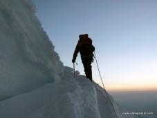 Climbing at Sunrise on Rainier